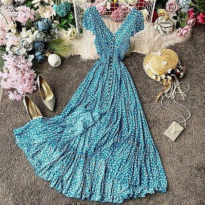 Vestido Floral Longo com Botões - 5 cores