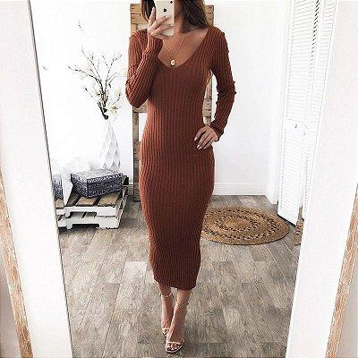 Vestido Midi Tubinho Canelado - 5 cores