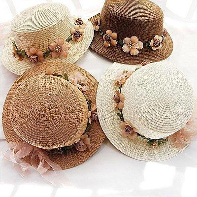 Chapéu Palha Floral - 9 cores