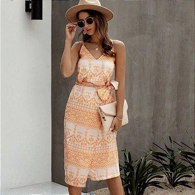 Vestido Estampado Amarração - 4 cores