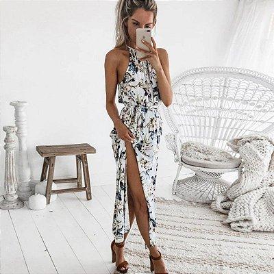 Vestido Trapézio Longo Estampado - 4 cores