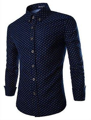 Camisa Masculina Estampa Miúda - Azul Marinho