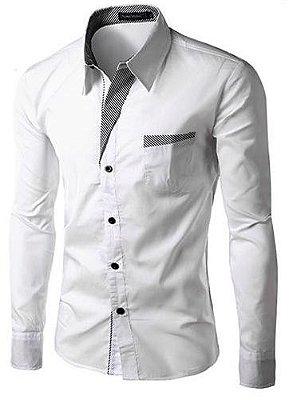 Camisa Masculina com Detalhes Listrados - Branca