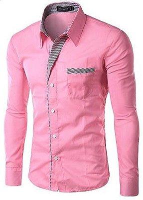Camisa Masculina com Detalhes Listrados - Rosa