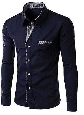 Camisa Masculina com Detalhes Listrados - Azul Marinho
