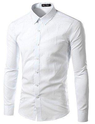 Camisa Masculina Slim Fit Cor Sólida - Branca