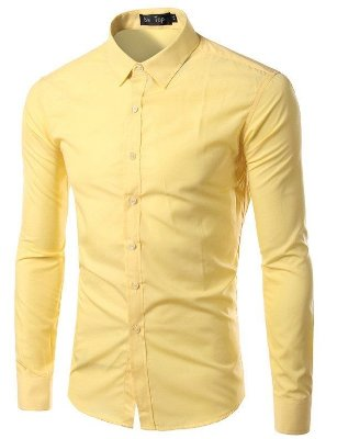 Camisa Masculina Slim Fit Cor Sólida - Amarela