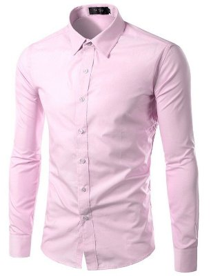 Camisa Masculina Slim Fit Cor Sólida - Rosa Claro