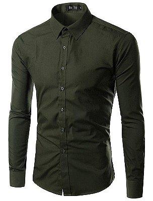 Camisa Masculina Slim Fit Cor Sólida - Verde Escuro