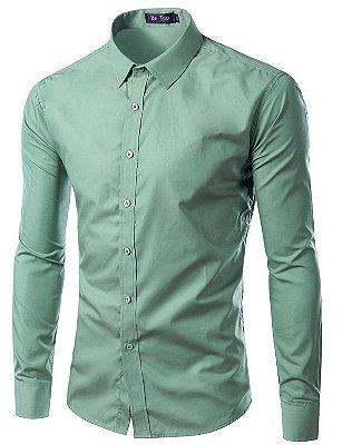Camisa Masculina Slim Fit Cor Sólida - Verde Claro