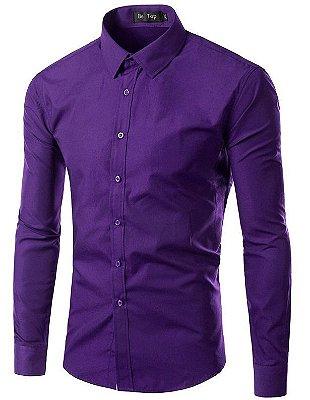 Camisa Masculina Slim Fit Cor Sólida - Roxa