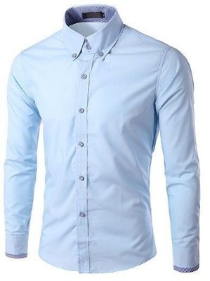 Camisa Masculina com Detalhes Xadrez na Gola, Mangas e Botões - Azul Claro