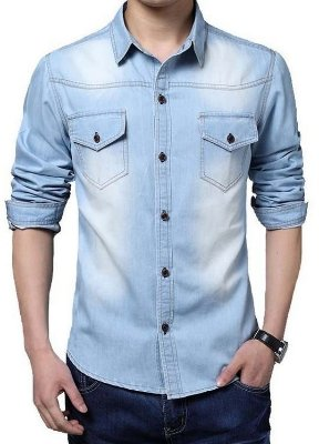 Camisa Masculina Jeans - Azul Claro