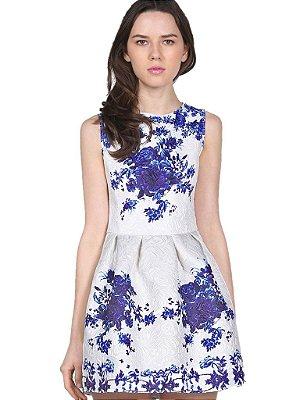 Vestido Jacquard Floral Azul
