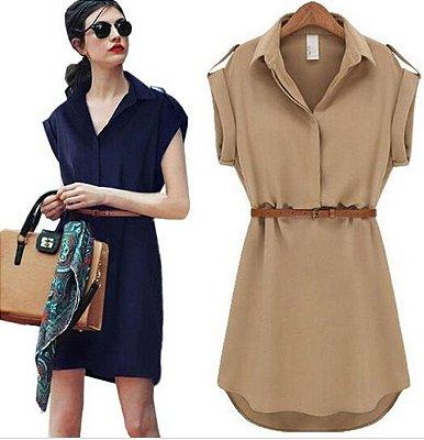 Vestido Liso com Cinto - 2 cores