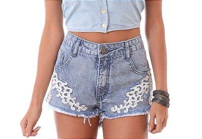 Short Jeans Cintura Alta com Guipir