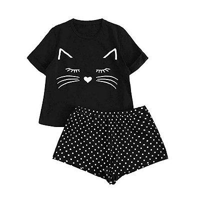 Pijama Cats com Bolinhas - 4 cores