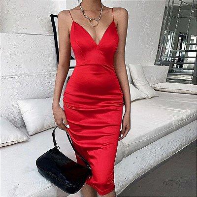 Vestido Cetim Lápis - 2 cores