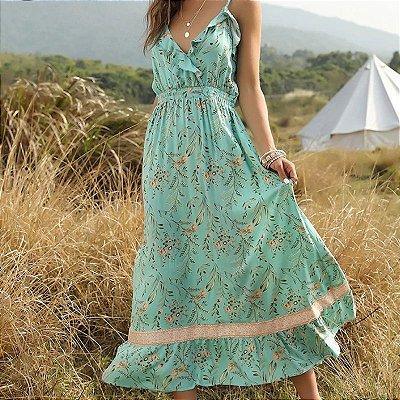 Vestido Floral Boho Longo - 2 cores