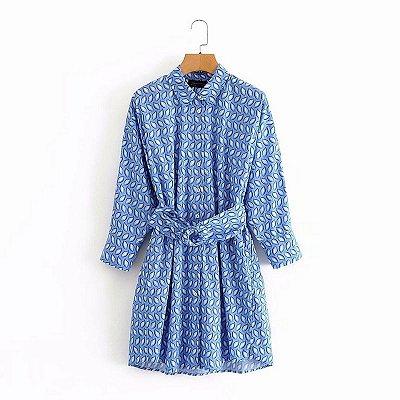 Vestido Blue Folhas