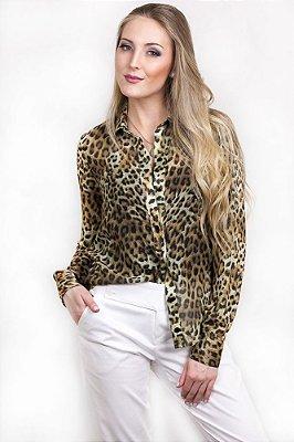Camisa Leopard Print de Chiffon