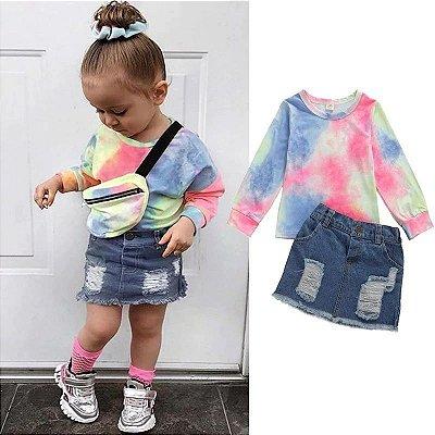 Conjunto Tie Dye + Saia Jeans