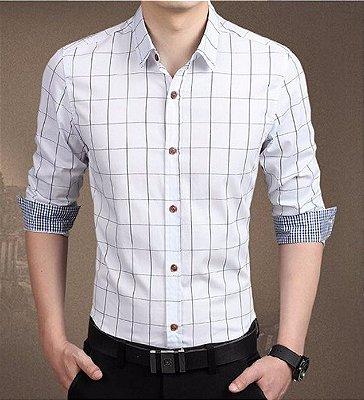 Camisa Masculina Quadriculada Branca