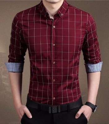 Camisa Masculina Quadriculada Vinho