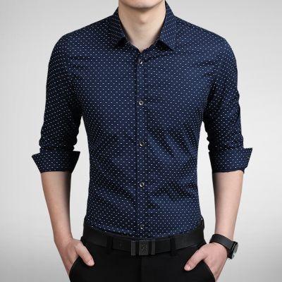 Camisa Masculina Estampa Discreta Azul Escuro