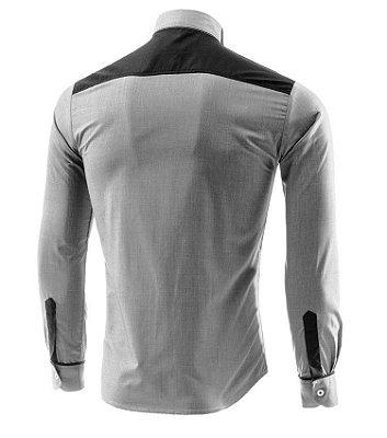 Camisa Masculina Detalhe Faixas Cinza