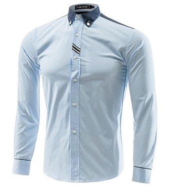 Camisa Masculina Detalhe Faixas Azul Claro