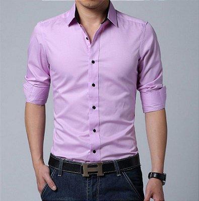 Camisa Masculina Lisa Clássica Rosa