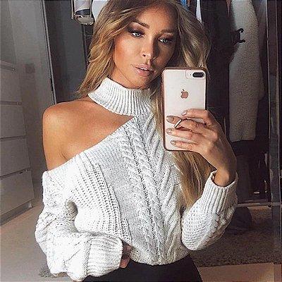 Suéter Tricô One Shoulder - 8 cores