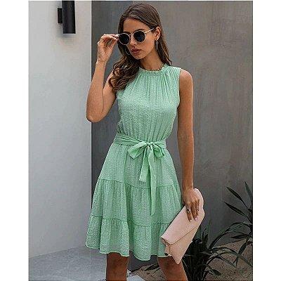 Vestido Plissado Amarração - 3 cores