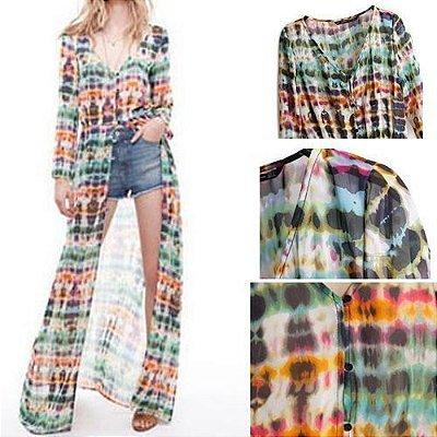 Vestido/Maxi Camisa Longo Colorido