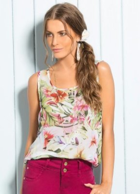 Regata Chiffon Estampa Tropical
