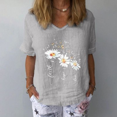 Blusa Linho Flowers - 4 cores