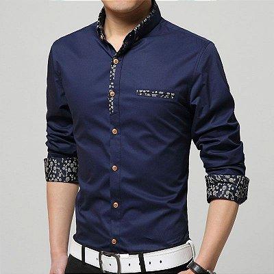 Camisa Masculina Detalhe Floral Azul