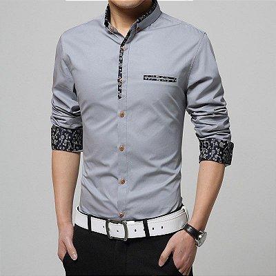 Camisa Masculina Detalhe Floral Cinza