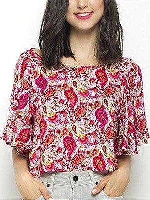 Blusa Cropped Estampada Rosa