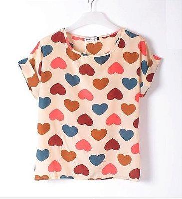 Blusa com estampa de Corações - Preta/Bege