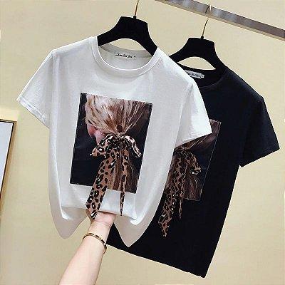 T-shirt Laço Animal Print - 2 cores
