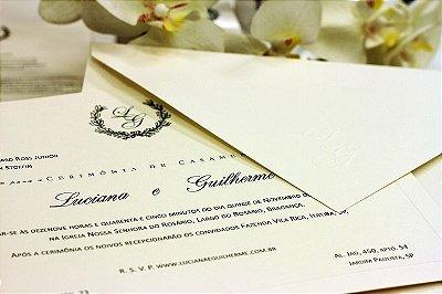 Convite de Casamento Clássico com Envelope 14x21cm