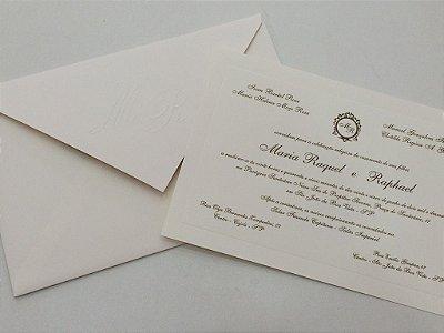 Convite de Casamento Clássico Linho Creme a Laser 14x21cm c/ Envelope