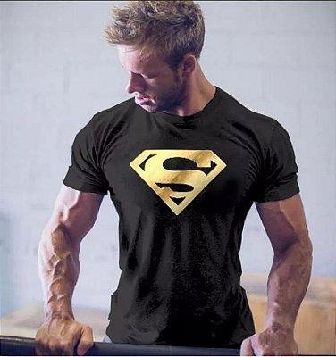 Camisetas Superman e Batman Preta Masculina Academia Fitness