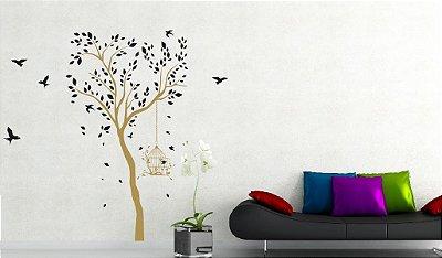 Adesivo de Parede - Árvore, Pássaro & Gaiola