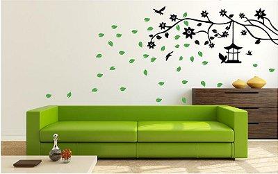 Adesivo de Parede - Árvore & Folhas Voando