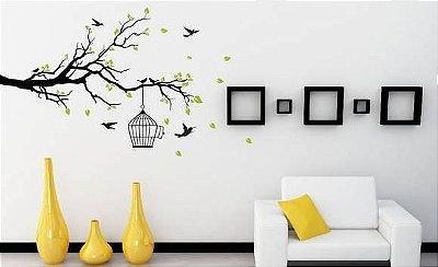 Adesivo de Parede - Árvore, Folhas & Pássaros