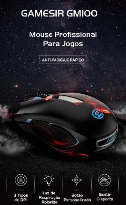 Mouse Gamer Gamesir GM100 USB RGB Led Anti-Fadiga Compatível Com Windows Mac Os X1 Z1