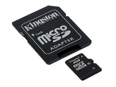 Cartão de Memória Kingston SDC10 Micro SDHC 4GB Classe 10 + Adaptador SD